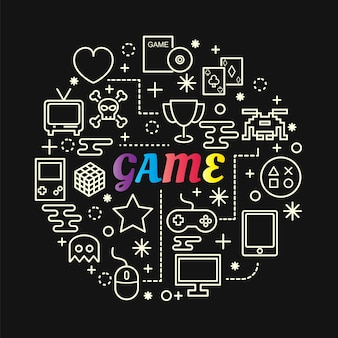 Game colorful gradient with line icons set
