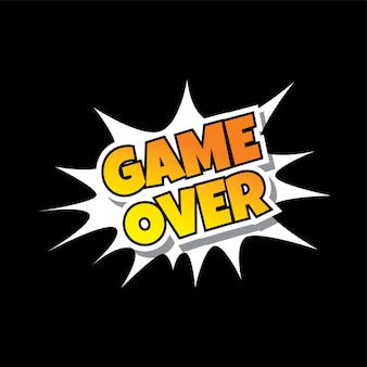 Game over comic speech bubble cartoon game assets