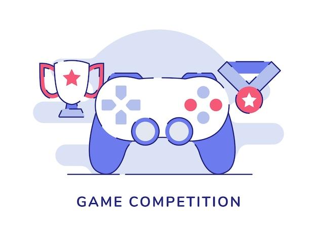 Концепция игрового соревнования с джойстиком, трофеем и медалью