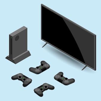 スマートテレビ付きのゲームコンソールとコントローラー。