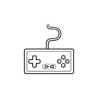 게임 콘솔 손으로 그린 개요 낙서 아이콘입니다. 홈 콘솔, 비디오 게임 콘솔, 조이스틱 개념. 인쇄, 웹, 모바일 및 흰색 배경에 인포 그래픽에 대한 벡터 스케치 그림.