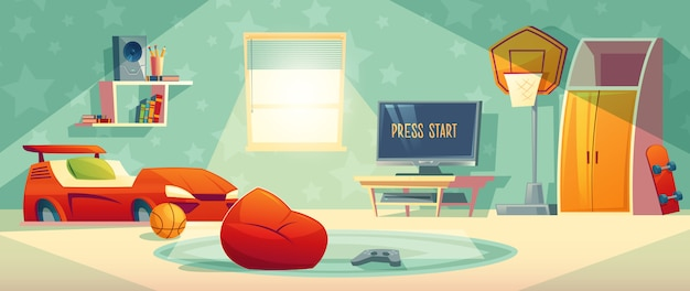 Game console in kid room vector illustration