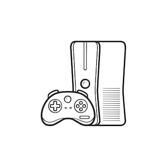 ジョイスティックの手描きのアウトライン落書きアイコンとゲーム機。ホームコンソール、ビデオゲームコンソールのコンセプト