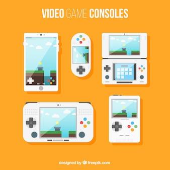 Game consoles set in flat design