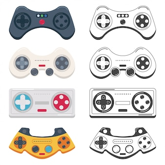 Game controller and joystick cartoon set isolated