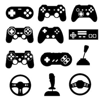 Game controller silhouette black isolated vector illustration eps10