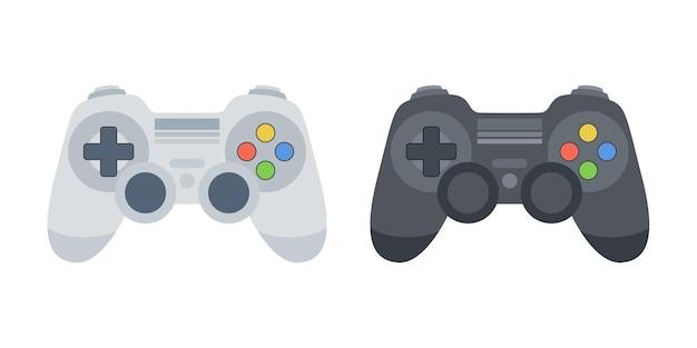 ゲームコントローラーセット。黒と白のゲームパッド。ウェブ、モバイルアプリ、デザインのゲームパッドのイラスト。ベクター。