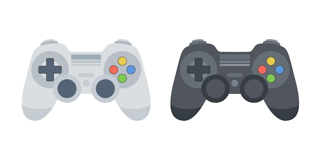 Game controllers set. black and white gamepads. gamepad illustration for web, mobile apps, design. vector.