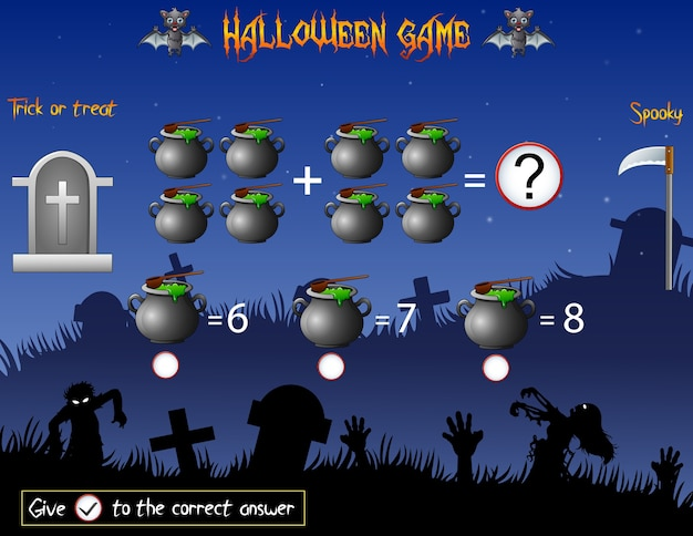 Game count the cauldron in the halloween theme