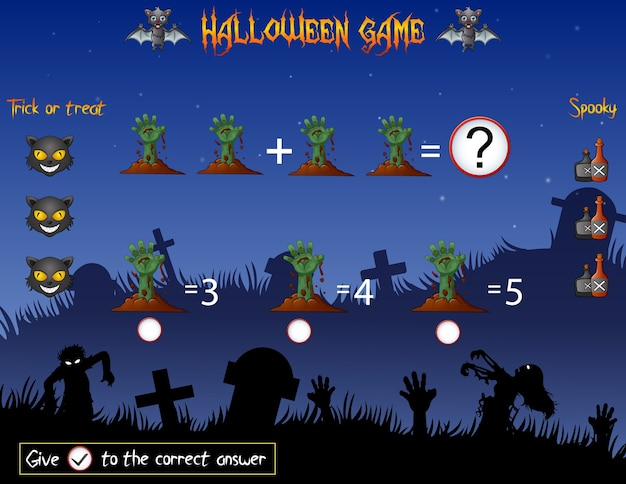 Game count the hands zombie in the halloween theme