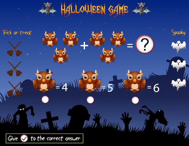 Game count the owl in the halloween theme