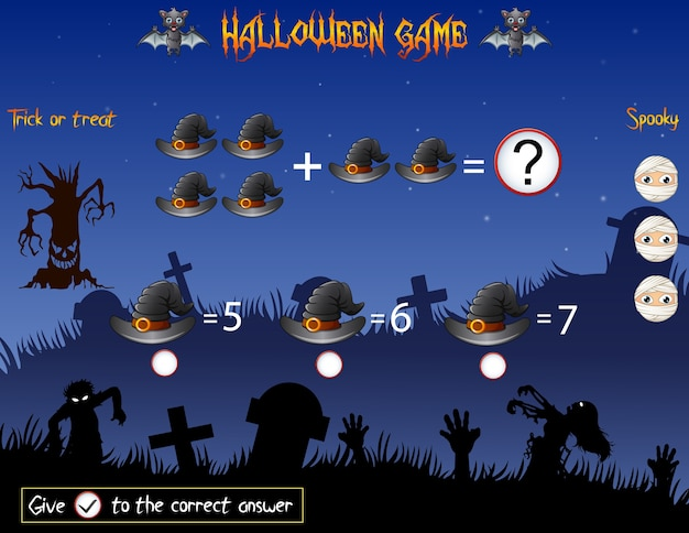 Game count the witch hat in the halloween theme