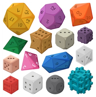 Game craps  cartoon set icon.  illustration dice on white background.  cartoon set icon game craps.