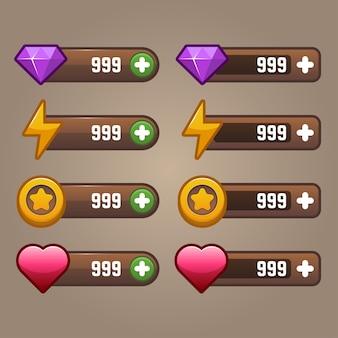 Potere della valuta del gioco e interfaccia utente di vita per il gioco