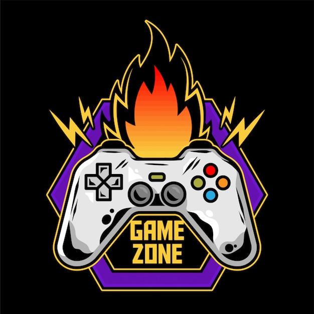 オタク文化のゲームゾーンのプレーヤーのコントローラーを備えたゲーマーモダンなイラストのプレイアーケードビデオゲームのゲームパッドのゲームデザインアイコンロゴ。