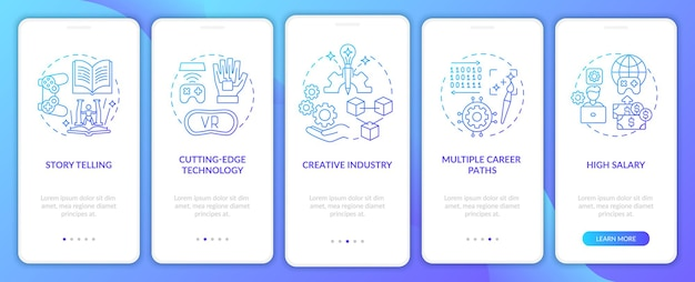 게임 디자인 업계는 개념이있는 온 보딩 모바일 앱 페이지 화면에 이점이 있습니다. 높은 급여 연습 5 단계 그래픽 지침. rgb 색상 삽화가있는 ui 템플릿