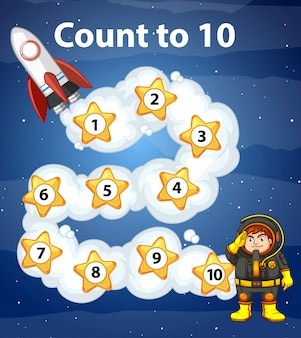 Game design with counting to ten in space