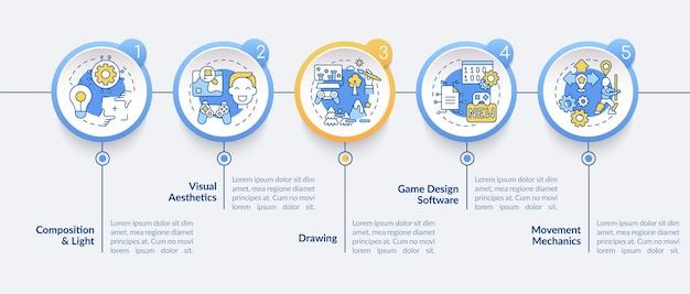 ゲームデザイナーのスキルのインフォグラフィックテンプレート。構成と軽いプレゼンテーションのデザイン要素。 5つのステップによるデータの視覚化。タイムラインチャートを処理します。線形アイコンのワークフローレイアウト