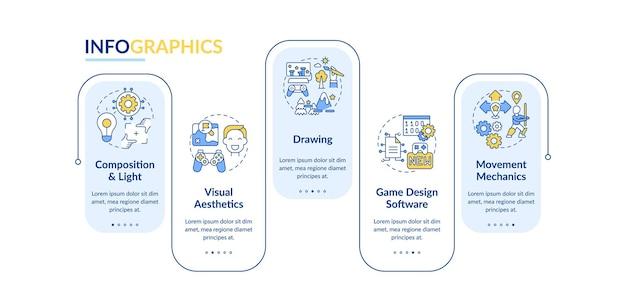 ゲームデザイナーのスキルのインフォグラフィックテンプレート。視覚美学のプレゼンテーションデザイン要素。 5つのステップによるデータの視覚化。タイムラインチャートを処理します。線形アイコンのワークフローレイアウト