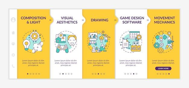 게임 디자이너 기술 온 보딩 템플릿. 게임 프로젝트 생성의 시각적 미학. 아이콘이있는 반응 형 모바일 웹 사이트. 웹 페이지 안내 단계 화면.