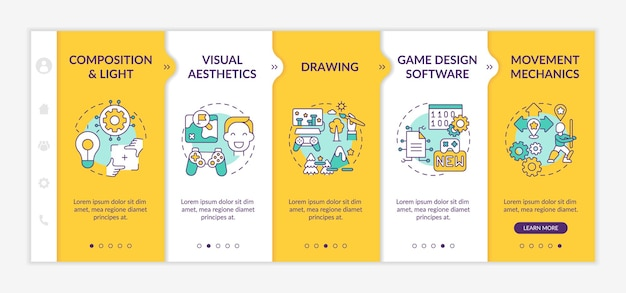 Game designer skills onboarding  template. visual aesthetics in your game project creation. responsive mobile website with icons. webpage walkthrough step screens.