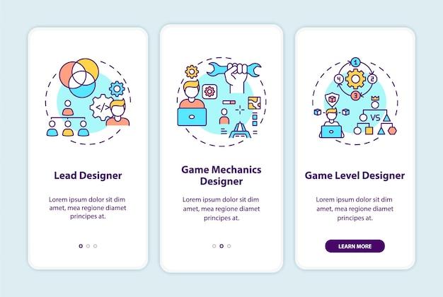 게임 디자이너는 개념이있는 온 보딩 모바일 앱 페이지 화면을 입력합니다.