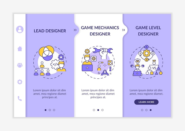 Game designers types onboarding  template. game mechanics designer of team game project. responsive mobile website with icons. webpage walkthrough step screens.