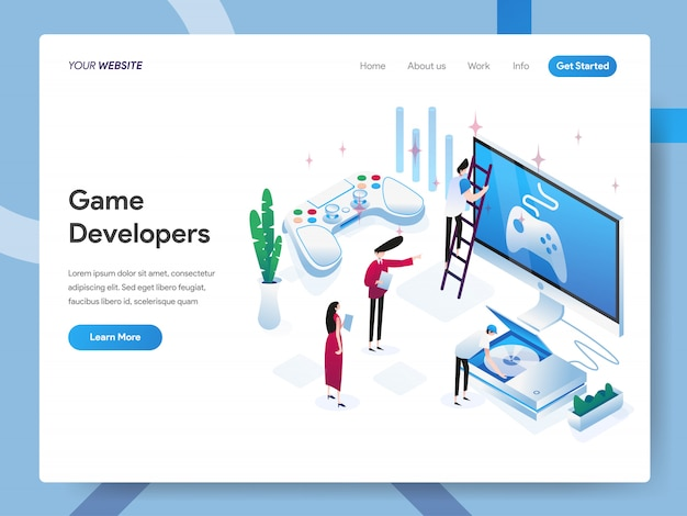 Game developers isometric illustration for website page