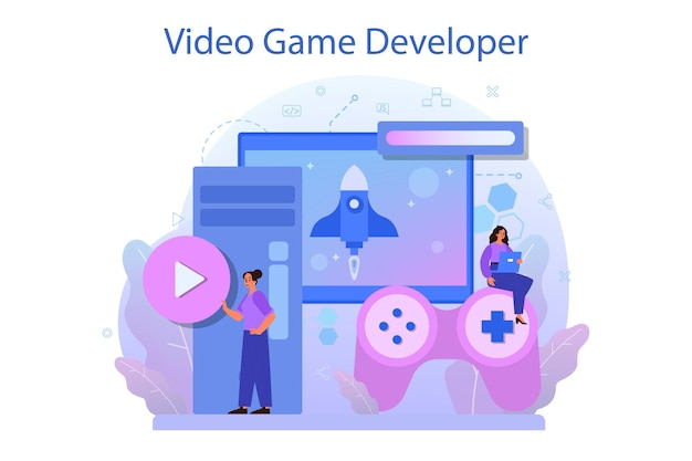 Game development concept. creative process of a computer video game design.
