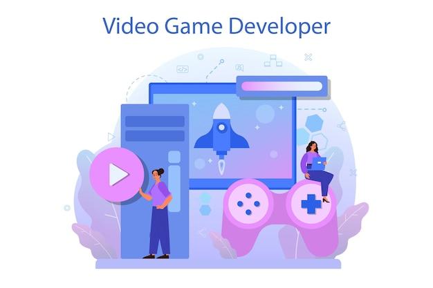 Game development concept. creative process of a computer video game design.