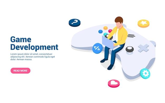 ゲーム開発の概念白い背景で隔離の等角投影スタイルのベクトル図