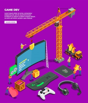 Game development isometric composition with big screen keyboard joystick for video game headphones and crane as symbol of game industry