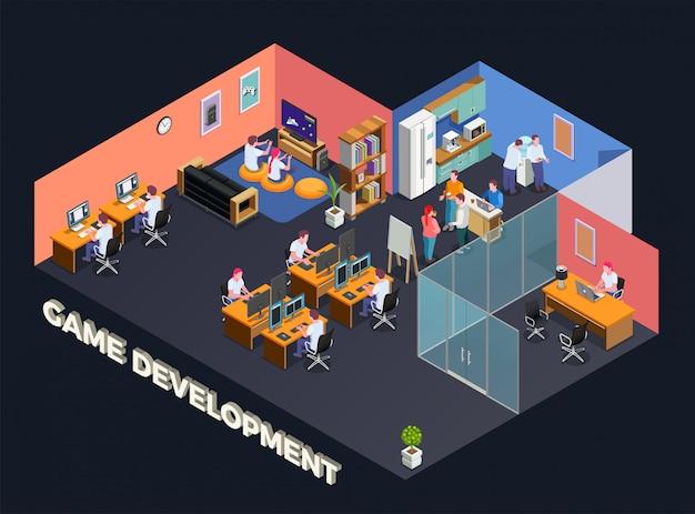 Composizione isometrica di sviluppo del gioco con programmatori e giocatori seduti al loro pc all'interno dell'ufficio