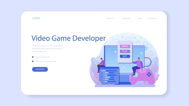 Game development web banner or landing page