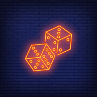 Game dices night bright advertisement element. gambling concept for neon sign