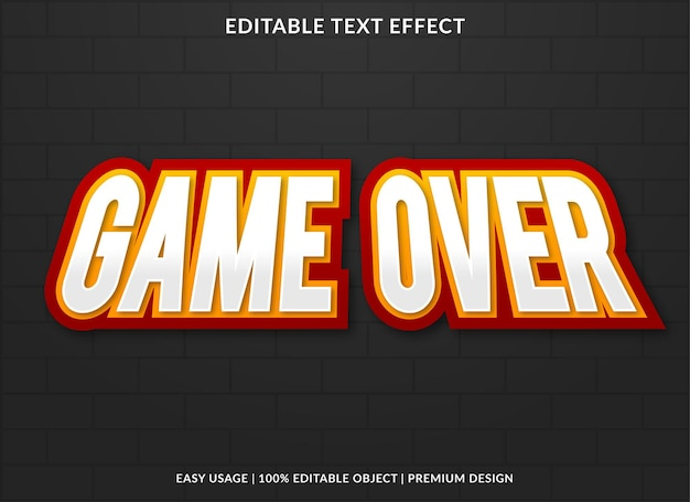 Game over editable font effect template premium style