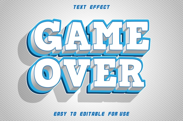 Game over editable text effect emboss modern style