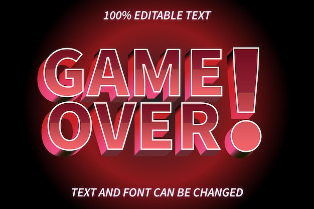 Game over editable text effect retro style