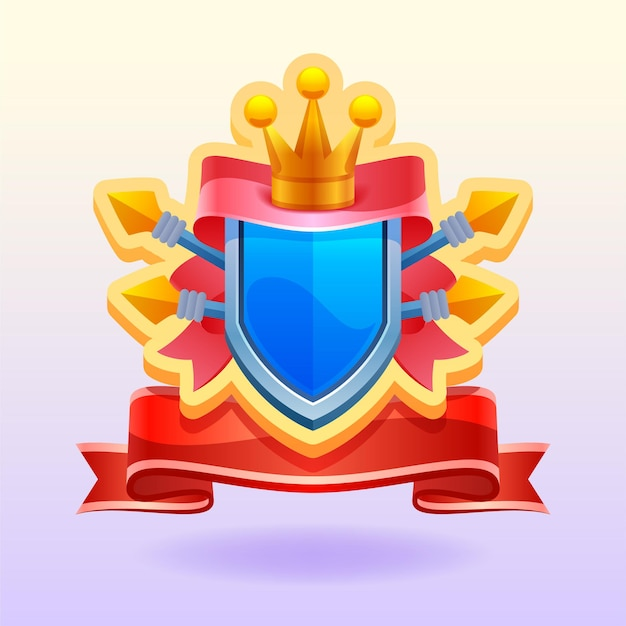 Game elements. shield with crown and ribbon. victory icon.  illustration