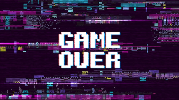 Game over fantastic computer background with glitch noise retro effect vector screen. game over pixel display, video computer text illustration