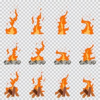 Игра огонь анимация эффект мультфильм набор изолированных на прозрачной.
