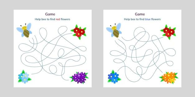 아이들을위한 게임. 아이들을위한 미로 또는 미로. 만화 귀여운 꿀벌과 꽃. 얽힌 도로.