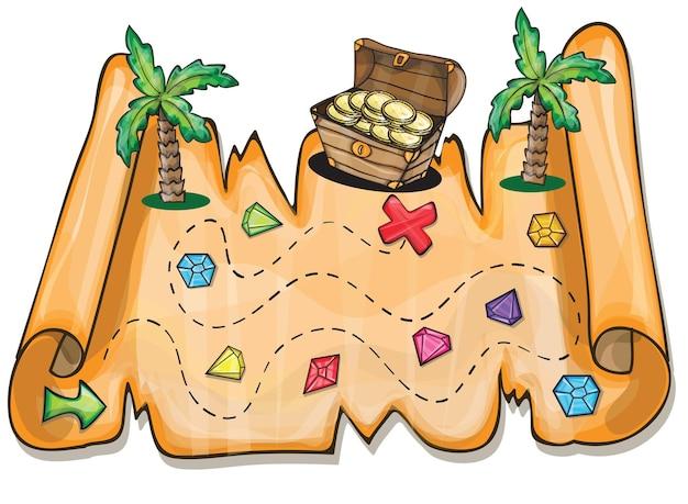 Игра для детей - пиратский сундук с сокровищами векторные иллюстрации