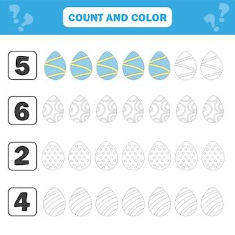 미취학 아동을 위한 게임. 그림에서 부활절 달걀을 세고 색칠해 보세요. 간단한 평면 고립 된 벡터 일러스트 레이 션