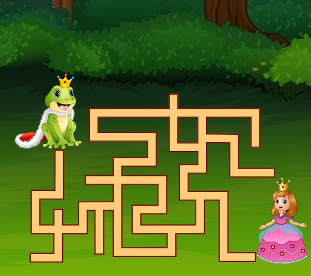 Game frog prince maze find way to princess