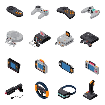 Game gadgets isometric icons collection