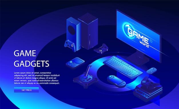 Шаблон веб-баннера игровых гаджетов. оборудование для геймеров, включая консоль, контроллер, компьютер, векторные изометрические иллюстрации. онлайн-игры и игровые приставки.