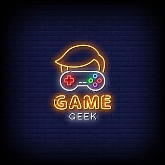 Логотип game geek с неоновыми вывесками в стиле текста