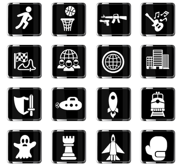 Game genre web icons for user interface design