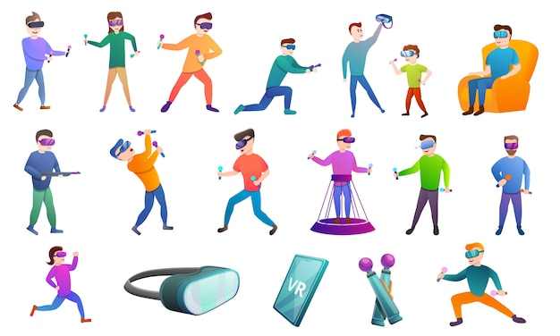 Game goggles characters and icons set, cartoon style